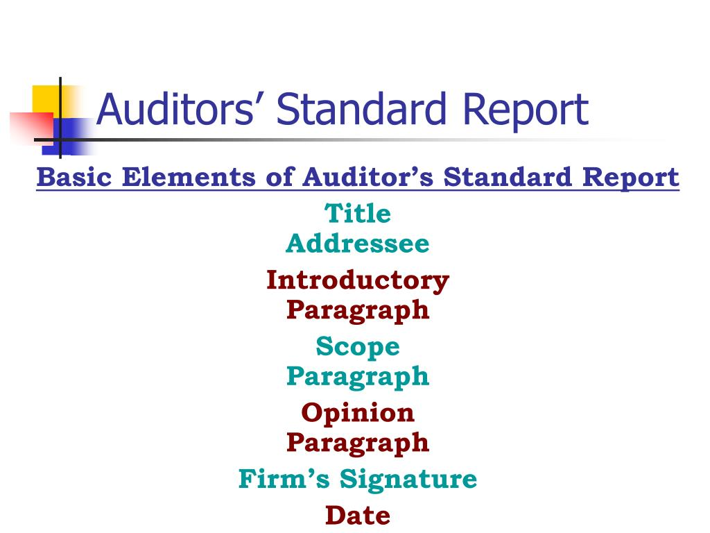 Auditors' Standard Report