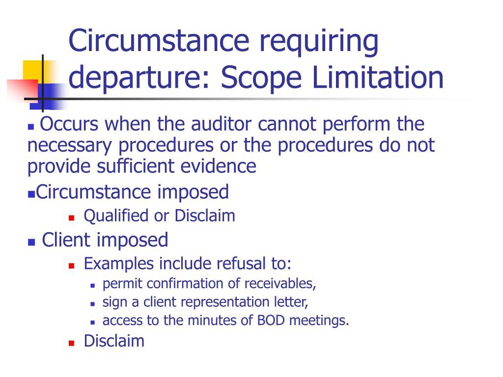 Circumstance requiring departure: Scope Limitation