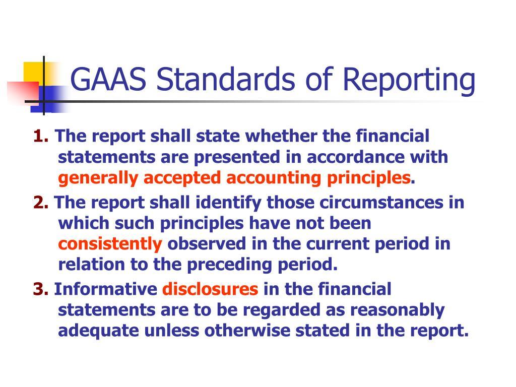 GAAS Standards of Reporting