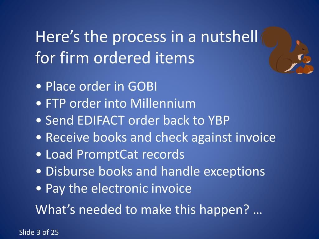 Here's the process in a nutshell for firm ordered items