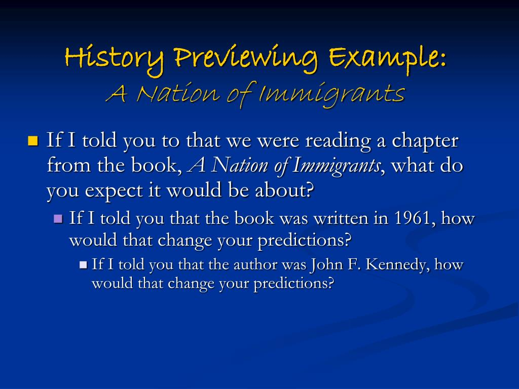 History Previewing Example: