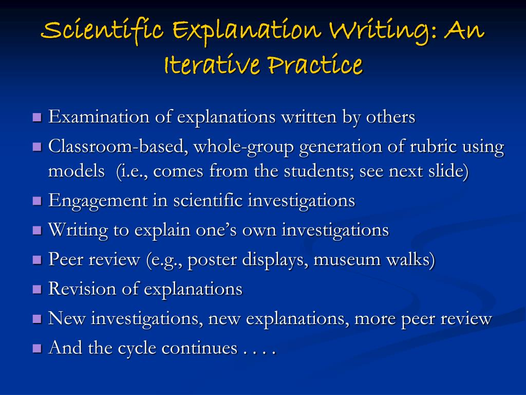 Scientific Explanation Writing: An Iterative Practice