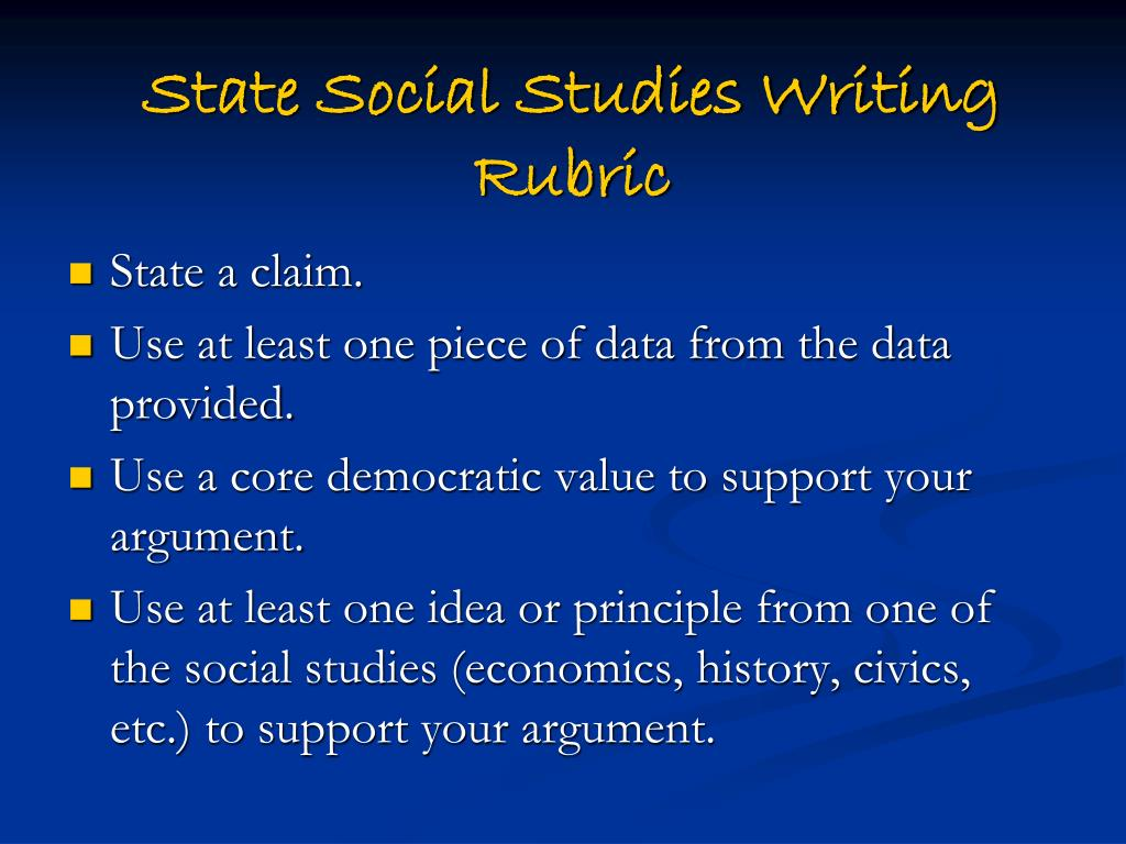 State Social Studies Writing Rubric