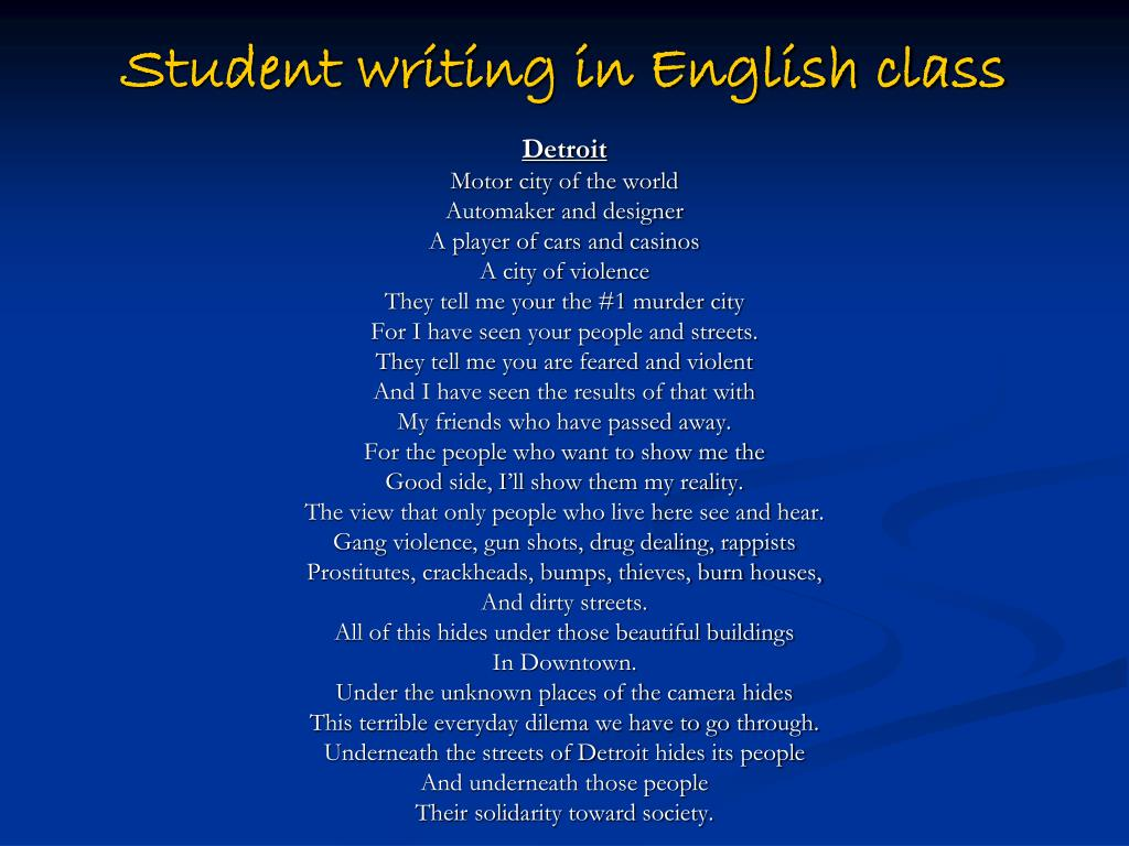 Student writing in English class