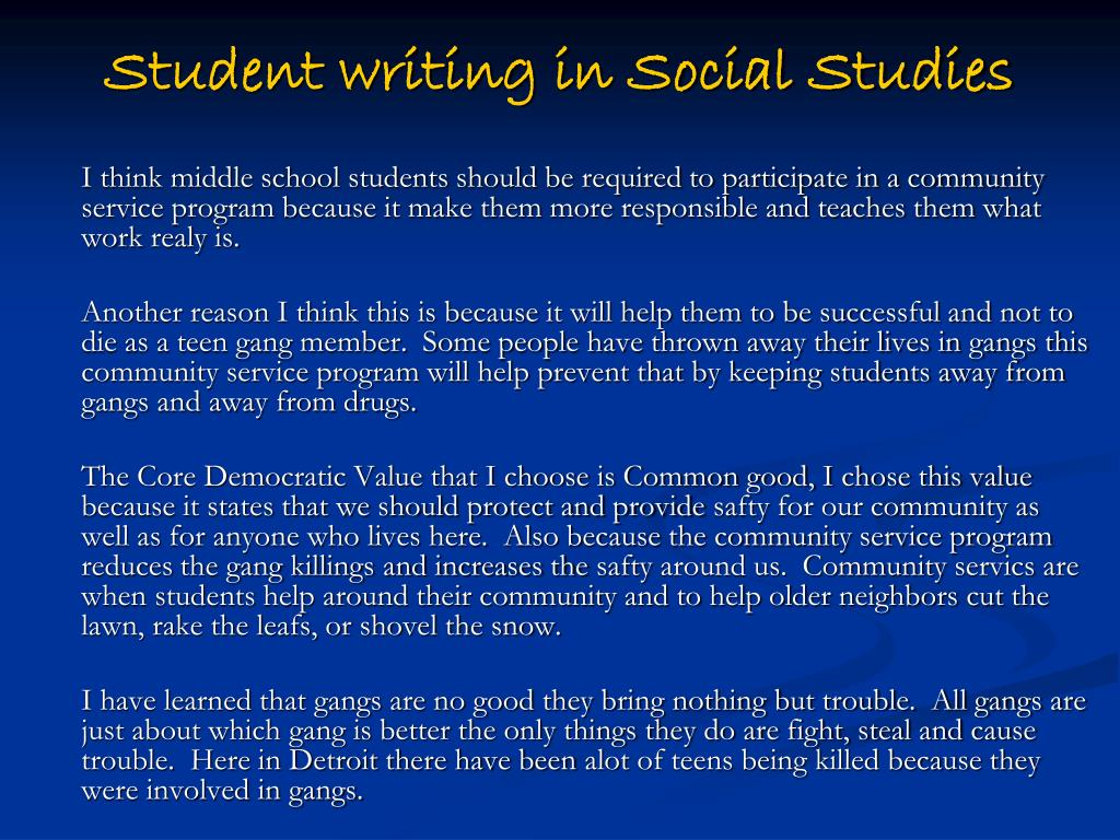 Student writing in Social Studies