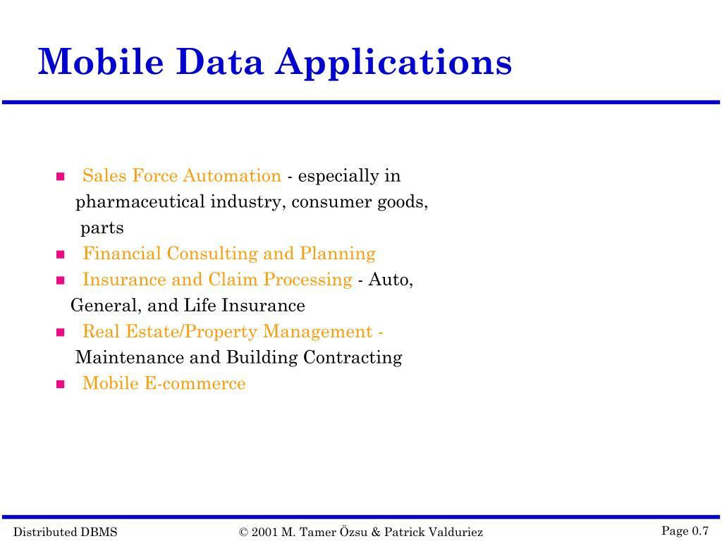 Mobile Data Applications