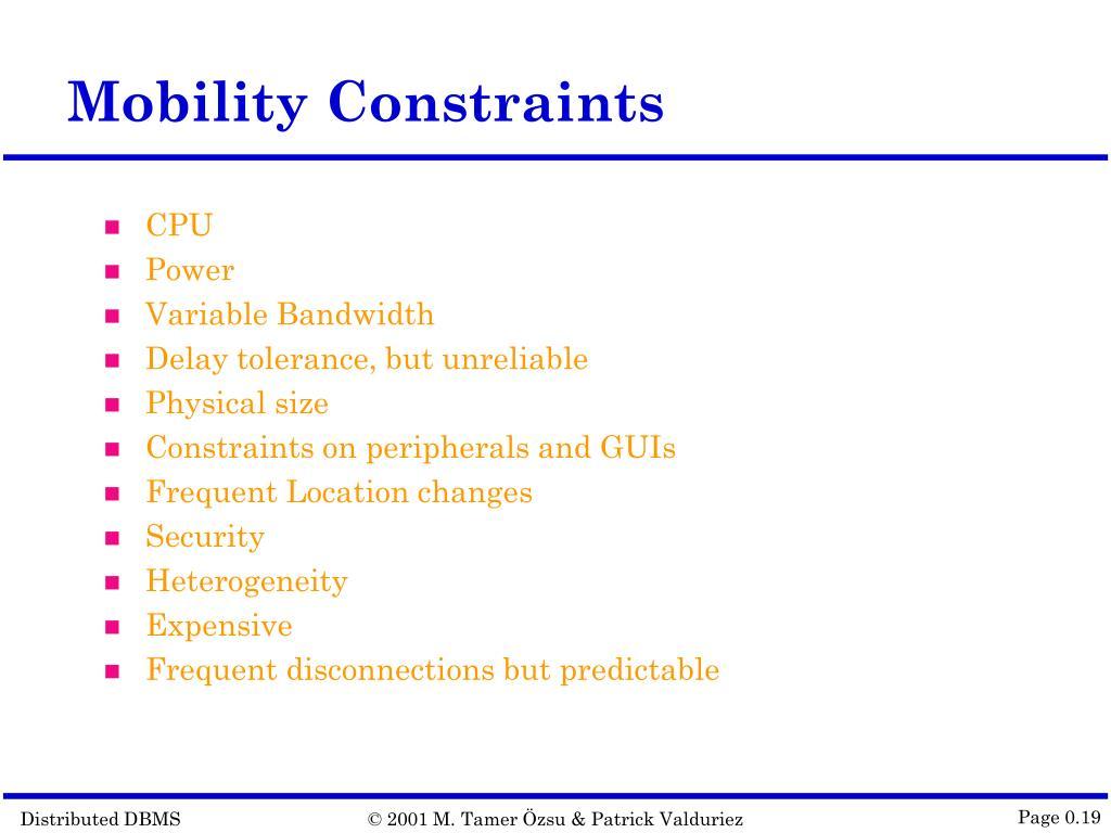Mobility Constraints