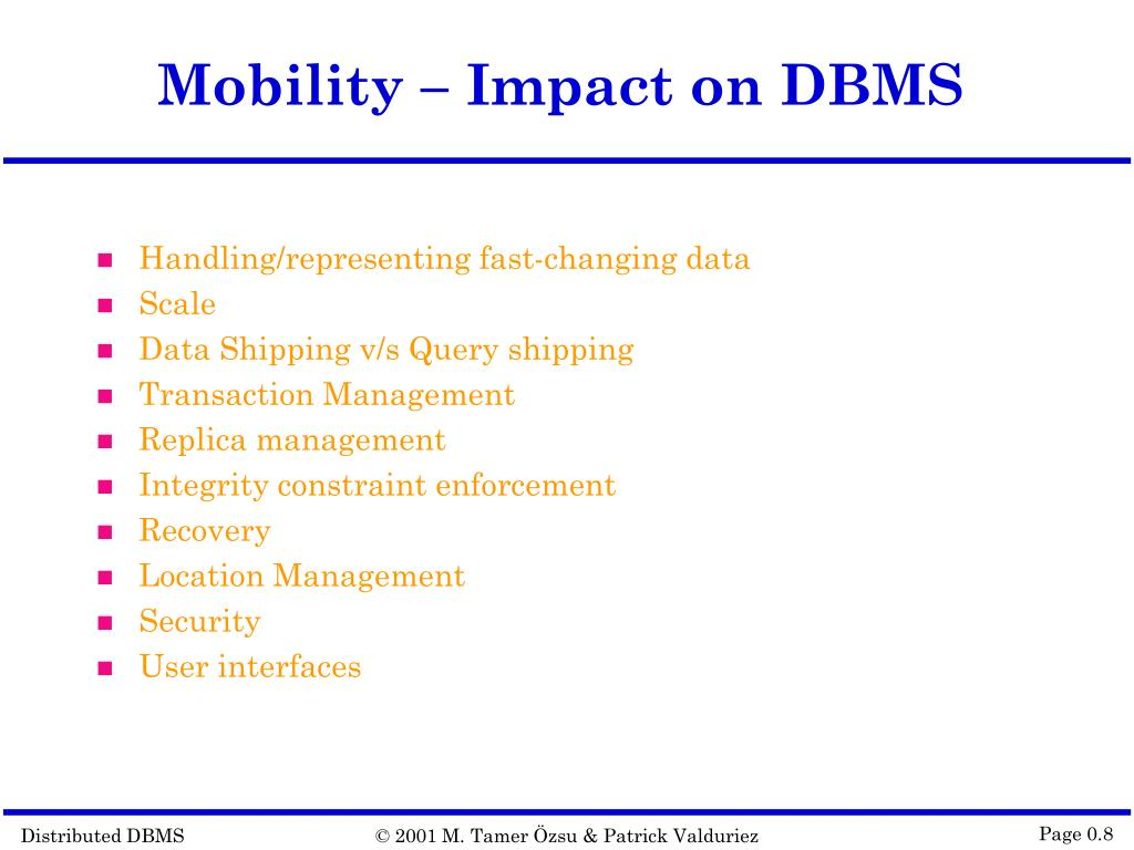 Mobility – Impact on DBMS