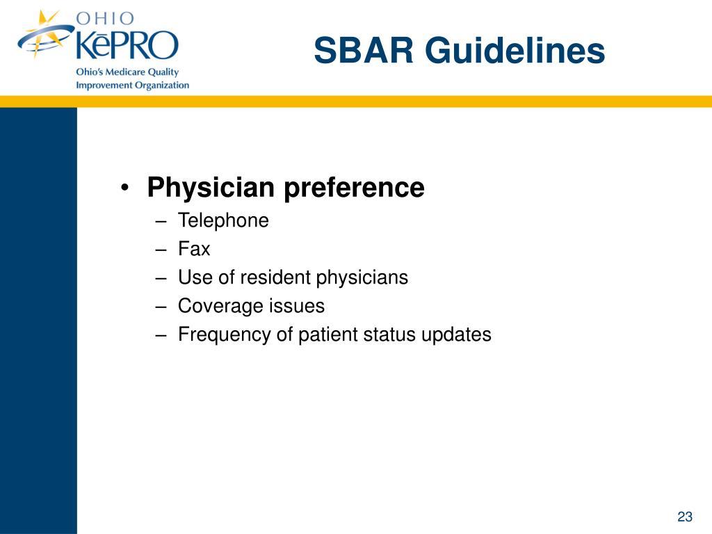 SBAR Guidelines