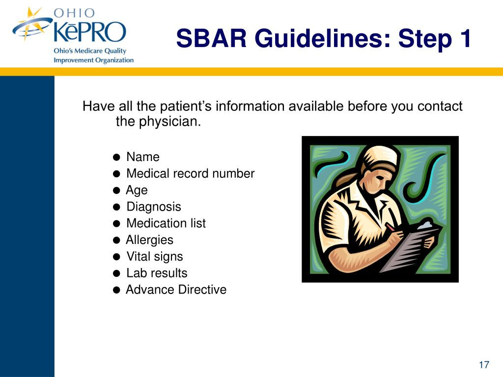 SBAR Guidelines: Step 1