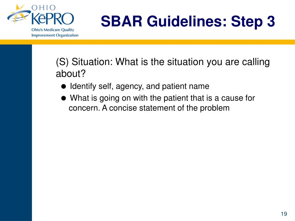 SBAR Guidelines: Step 3