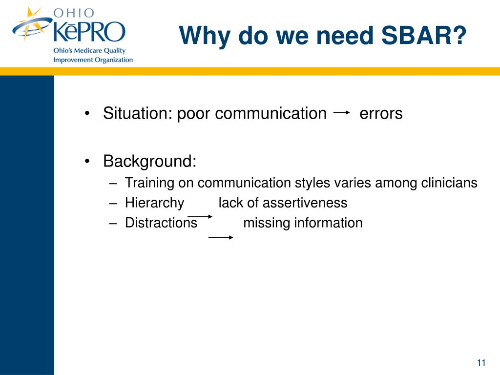 Why do we need SBAR?