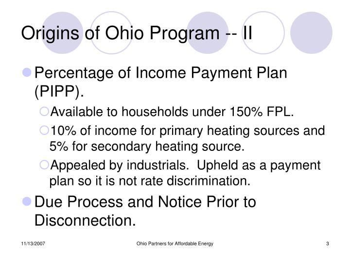 Origins of Ohio Program -- II