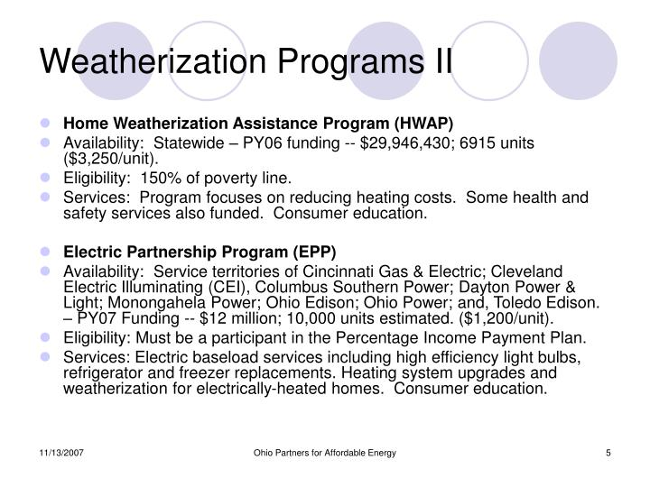 Weatherization Programs II
