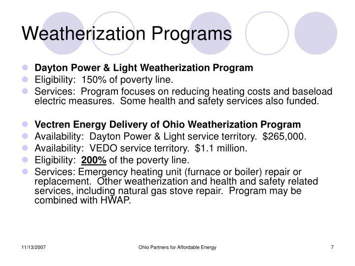 Weatherization Programs