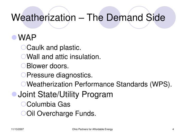 Weatherization – The Demand Side