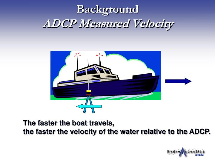 Background adcp measured velocity