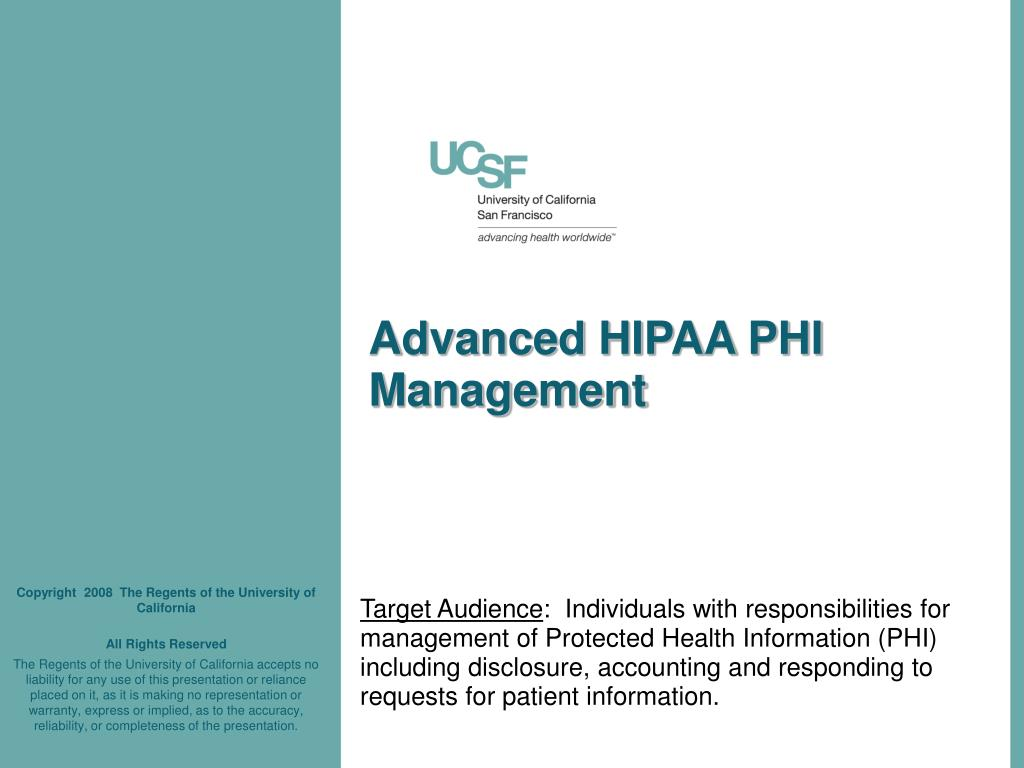 Advanced HIPAA PHI Management
