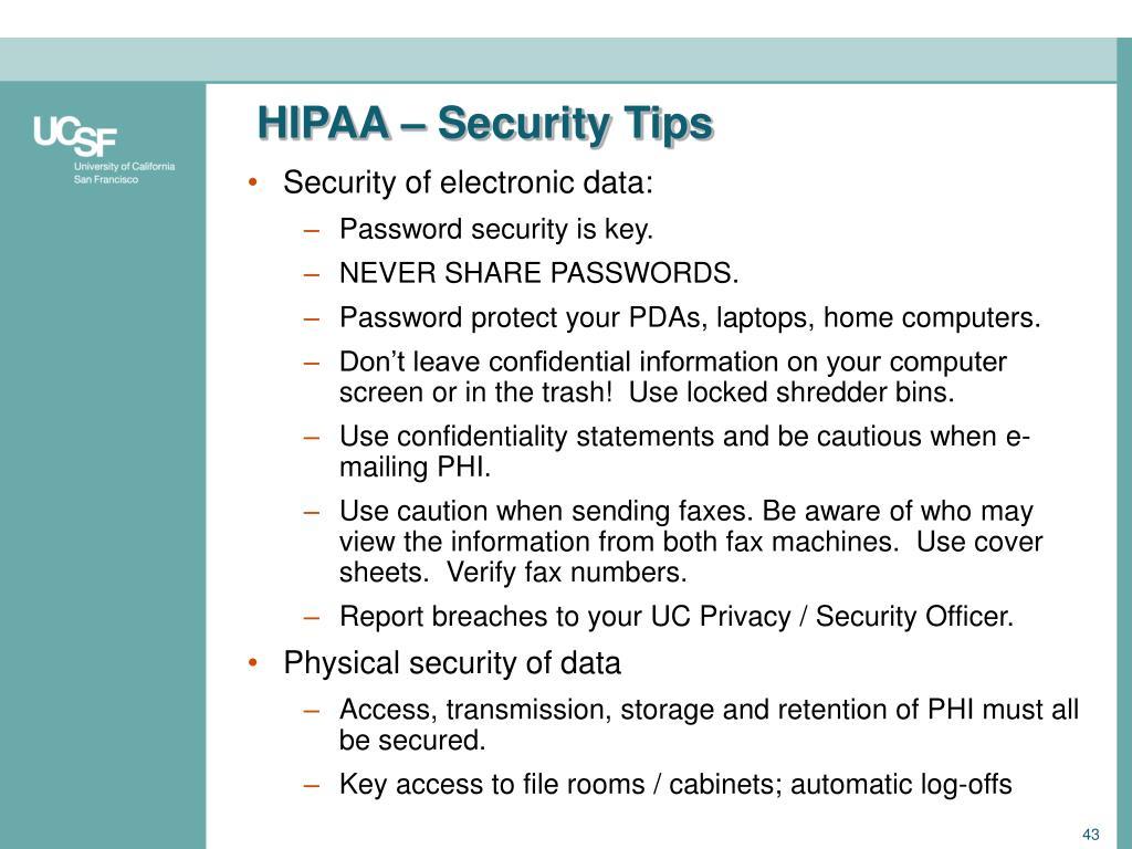 HIPAA – Security Tips