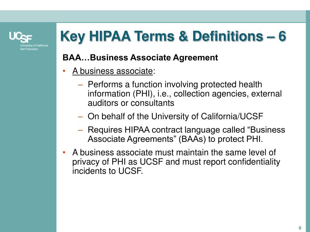 Key HIPAA Terms & Definitions – 6