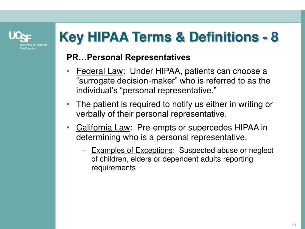 Key HIPAA Terms & Definitions - 8