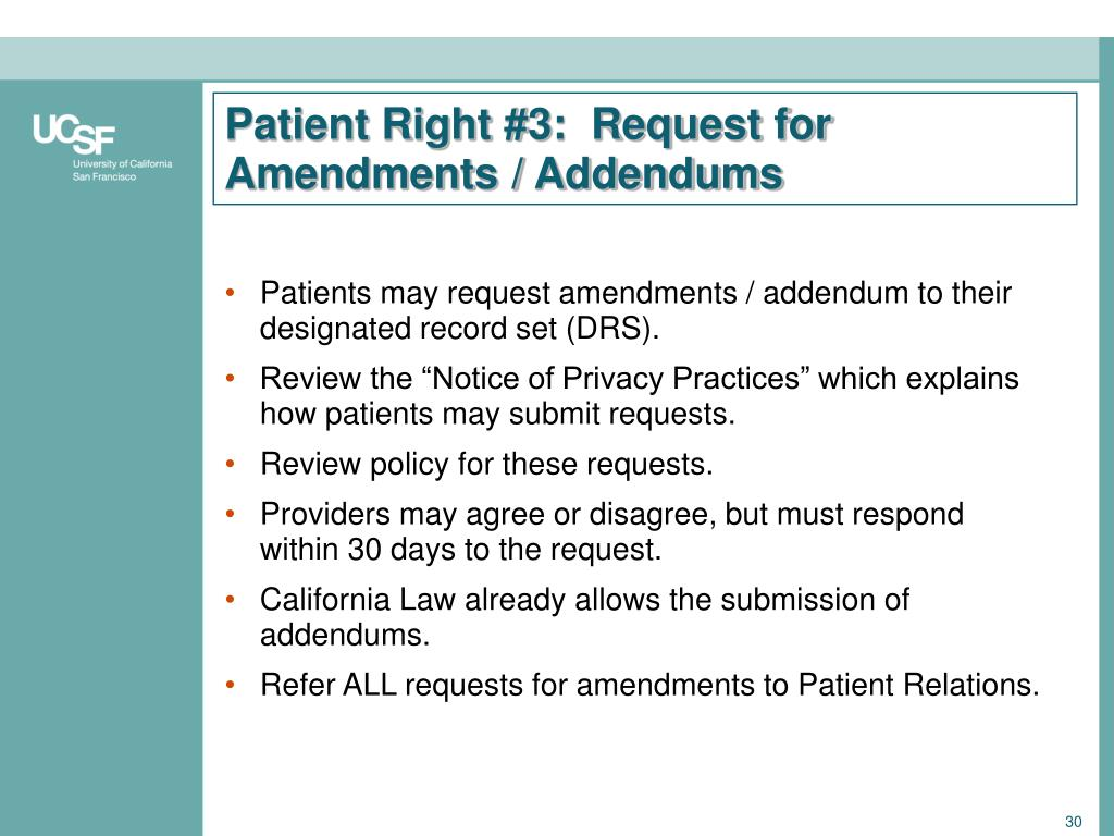 Patient Right #3:  Request for