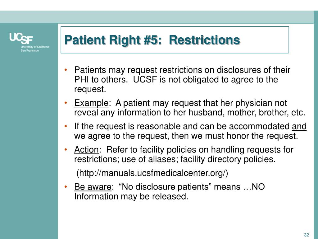 Patient Right #5:  Restrictions