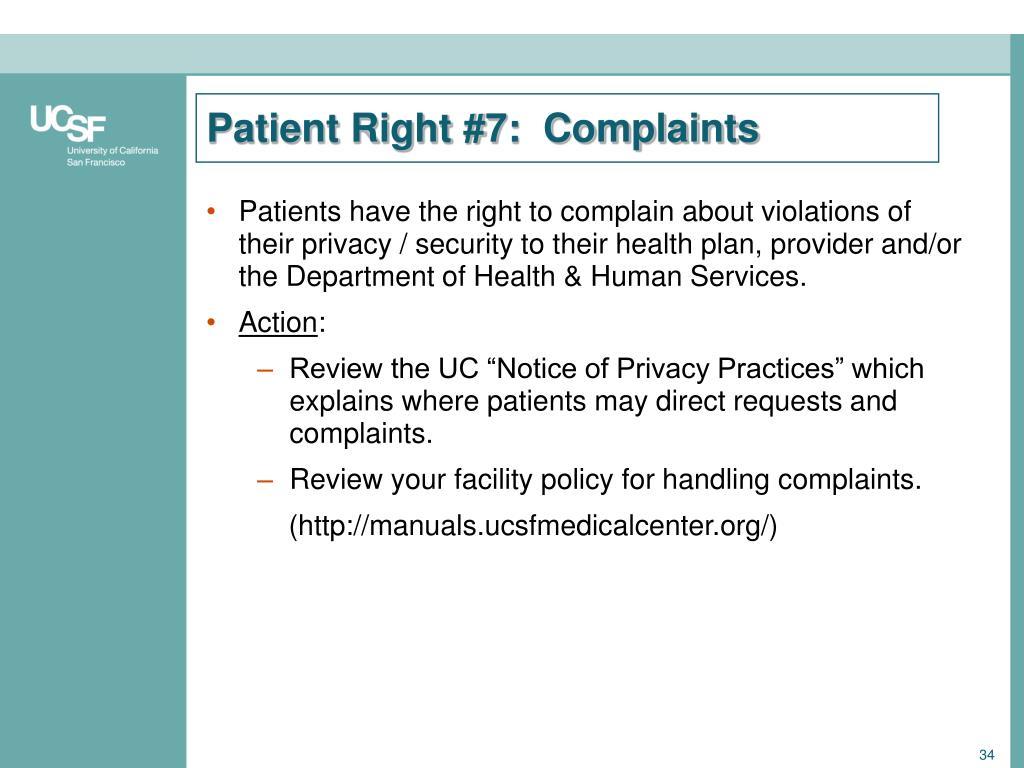 Patient Right #7:  Complaints