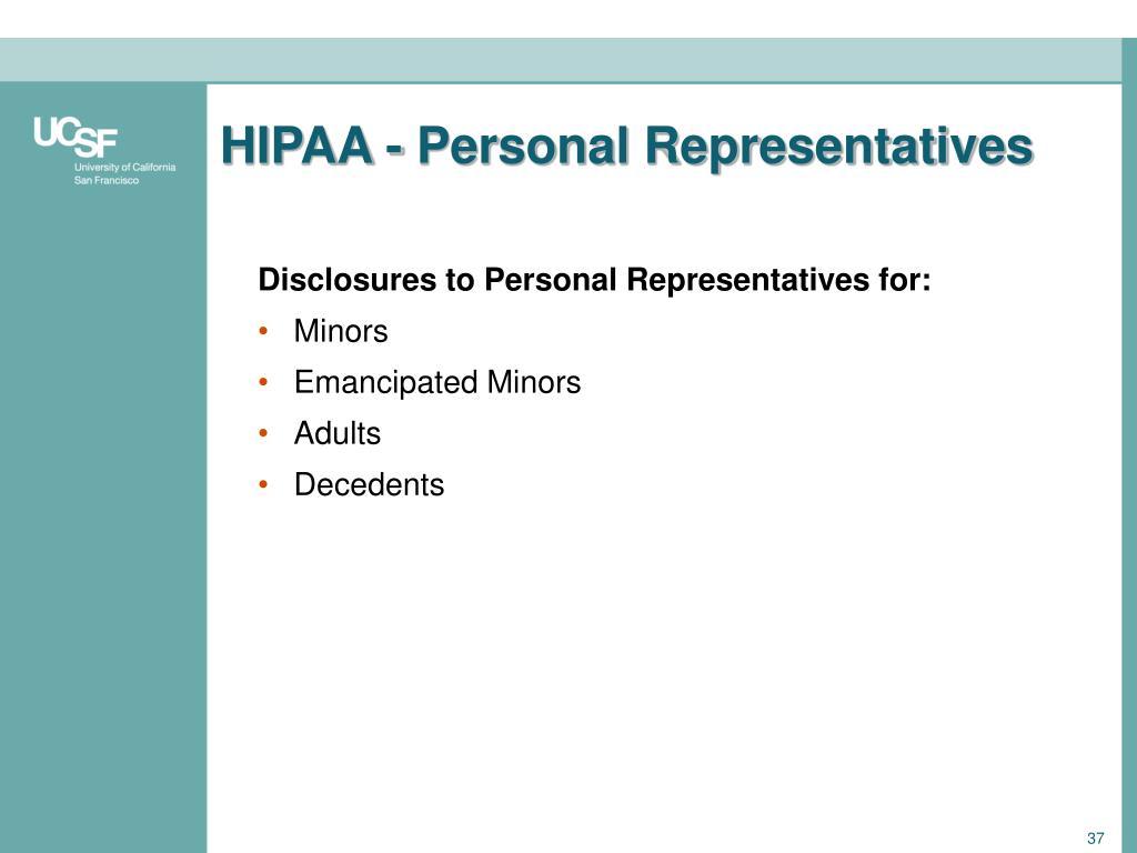 HIPAA - Personal Representatives