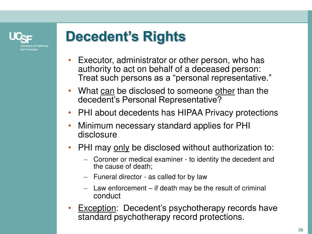 Decedent's Rights