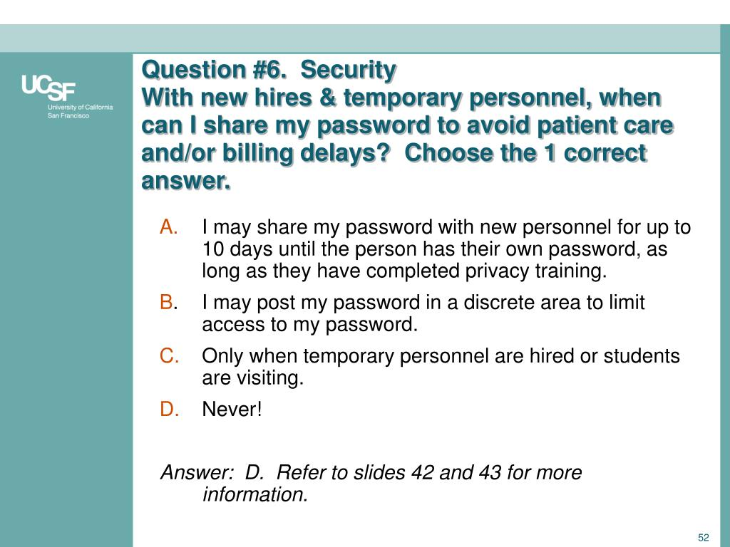 Question #6.  Security