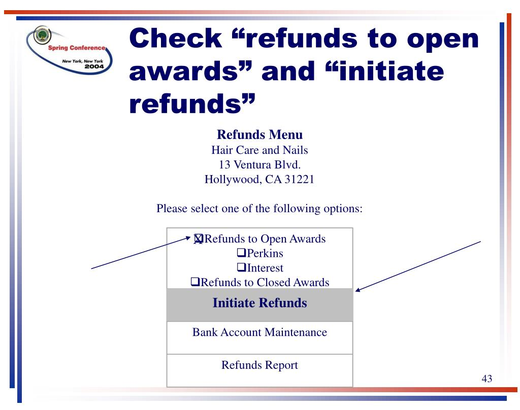 Refunds to Open Awards