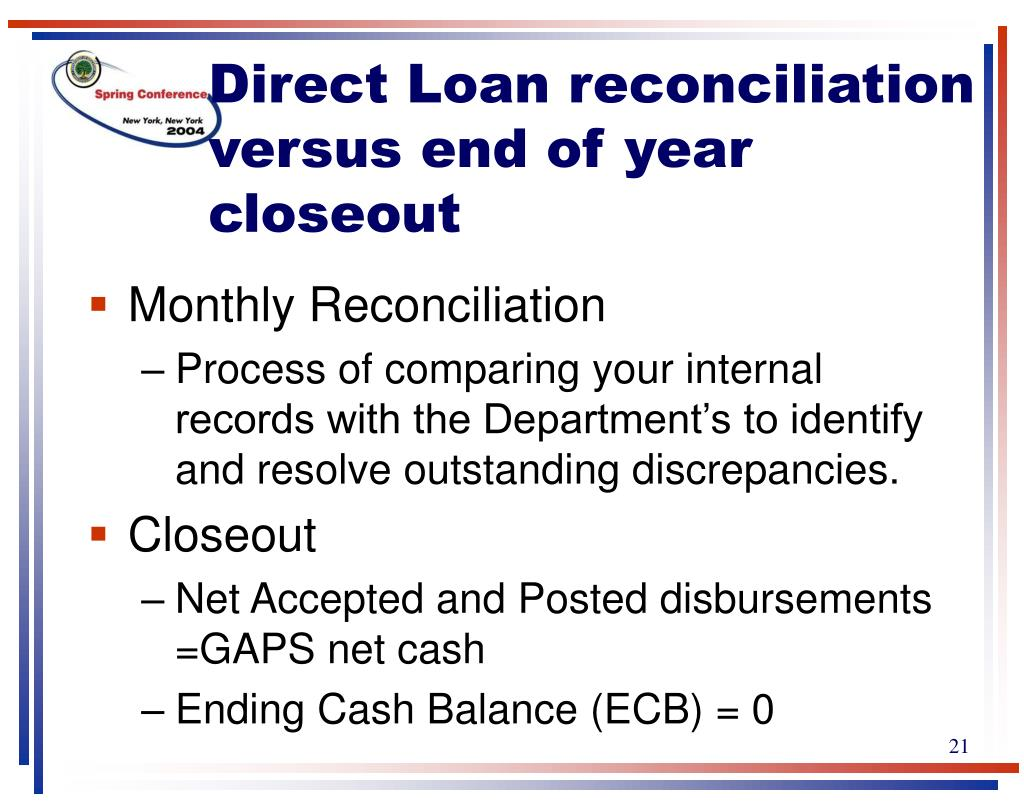 Direct Loan reconciliation versus end of year
