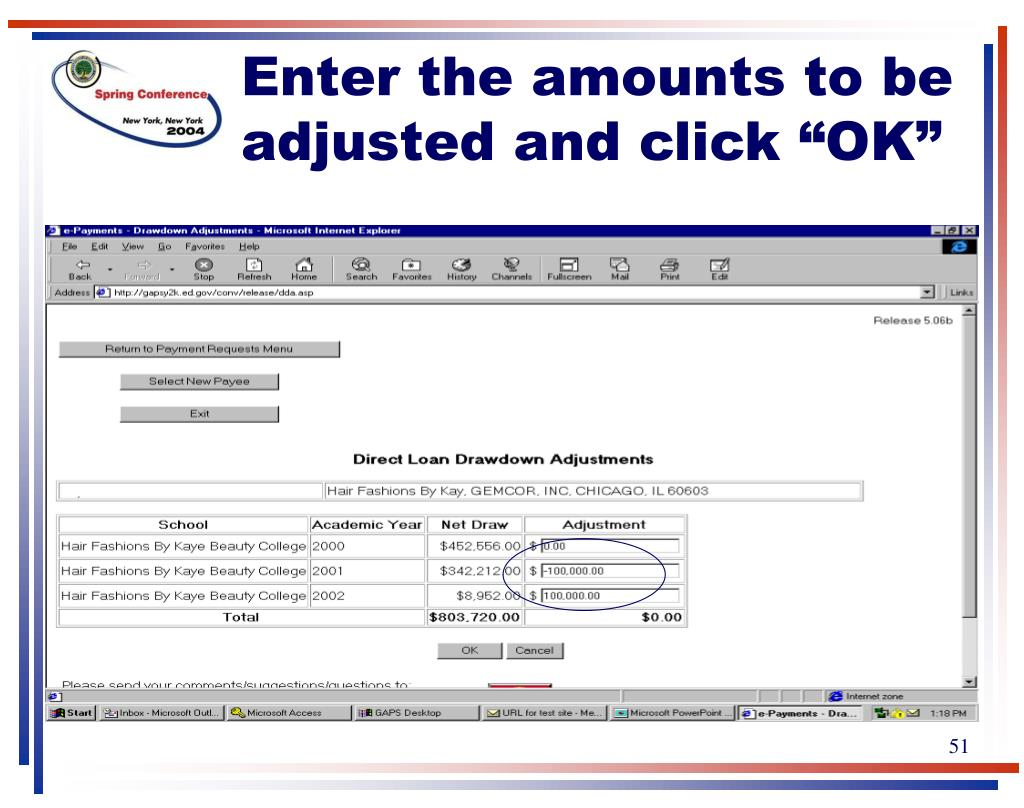 "Enter the amounts to be adjusted and click ""OK"""