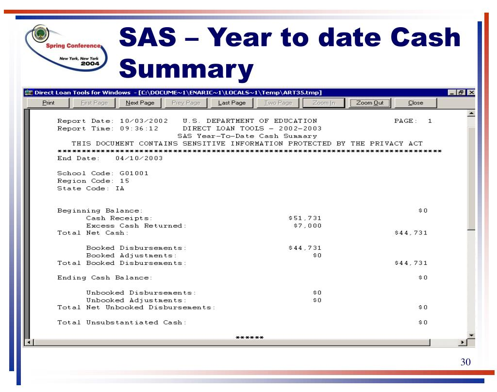 SAS – Year to date Cash Summary