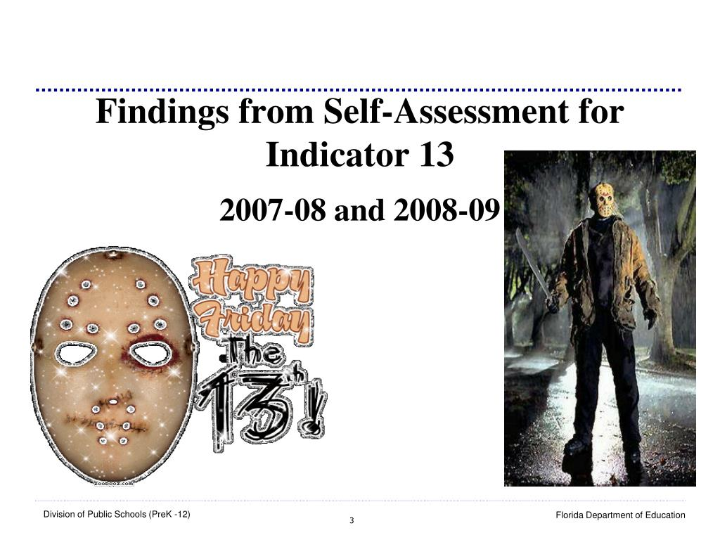 Findings from Self-Assessment for Indicator 13