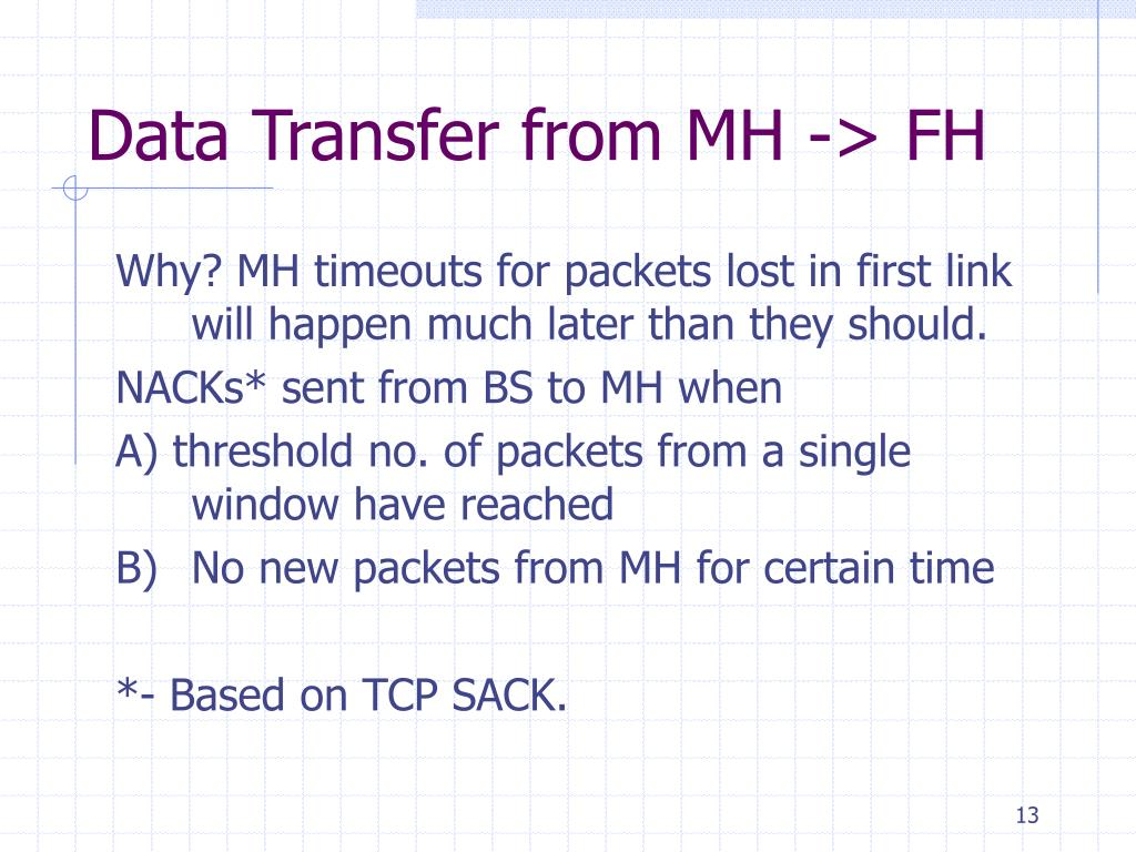 Data Transfer from MH -> FH