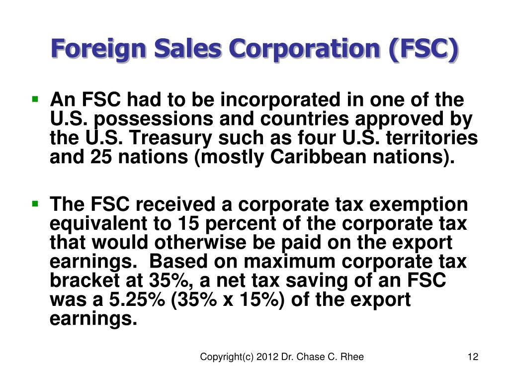 Foreign Sales Corporation (FSC)