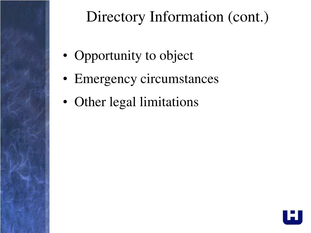 Directory Information (cont.)