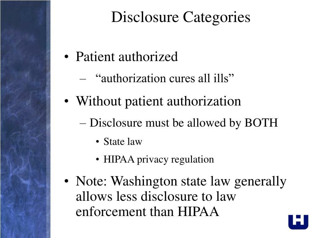Disclosure Categories