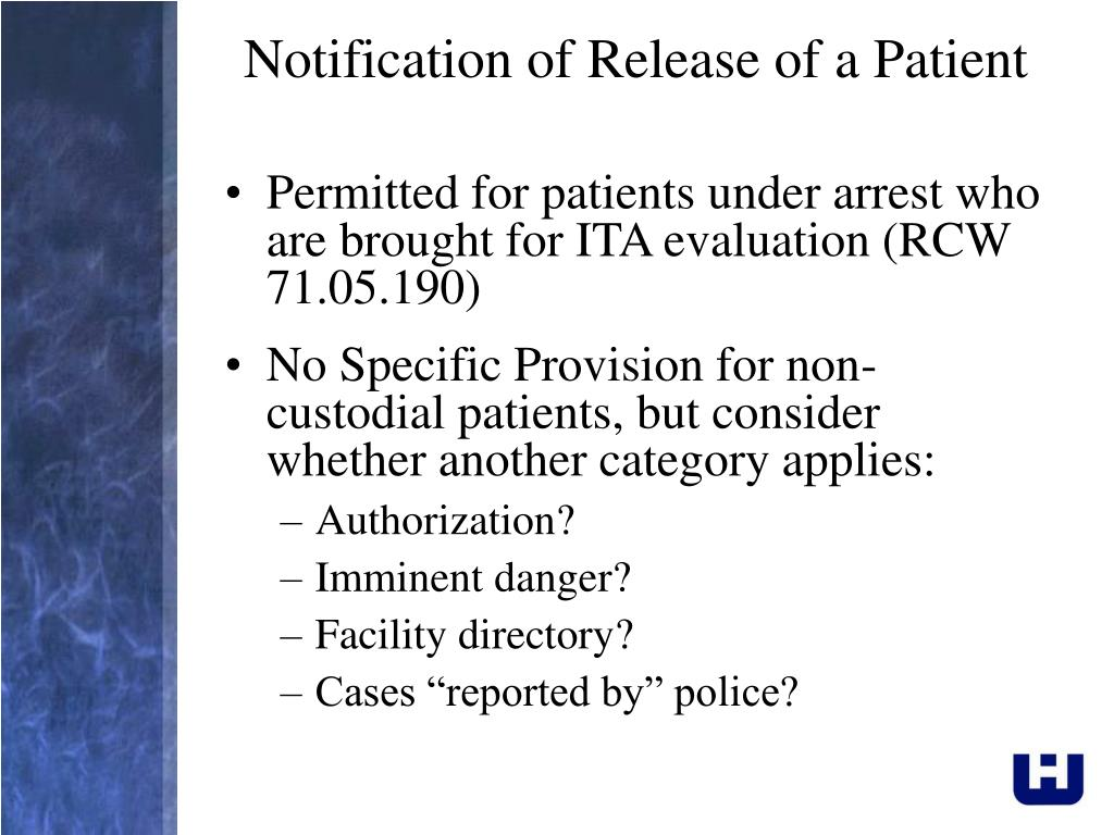 Notification of Release of a Patient