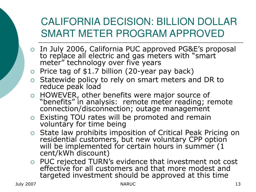 CALIFORNIA DECISION: BILLION DOLLAR SMART METER PROGRAM APPROVED