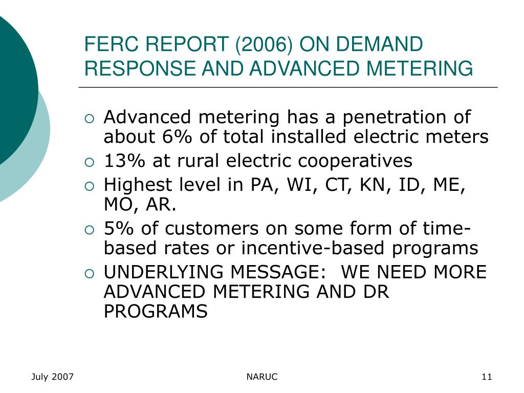 FERC REPORT (2006) ON DEMAND RESPONSE AND ADVANCED METERING