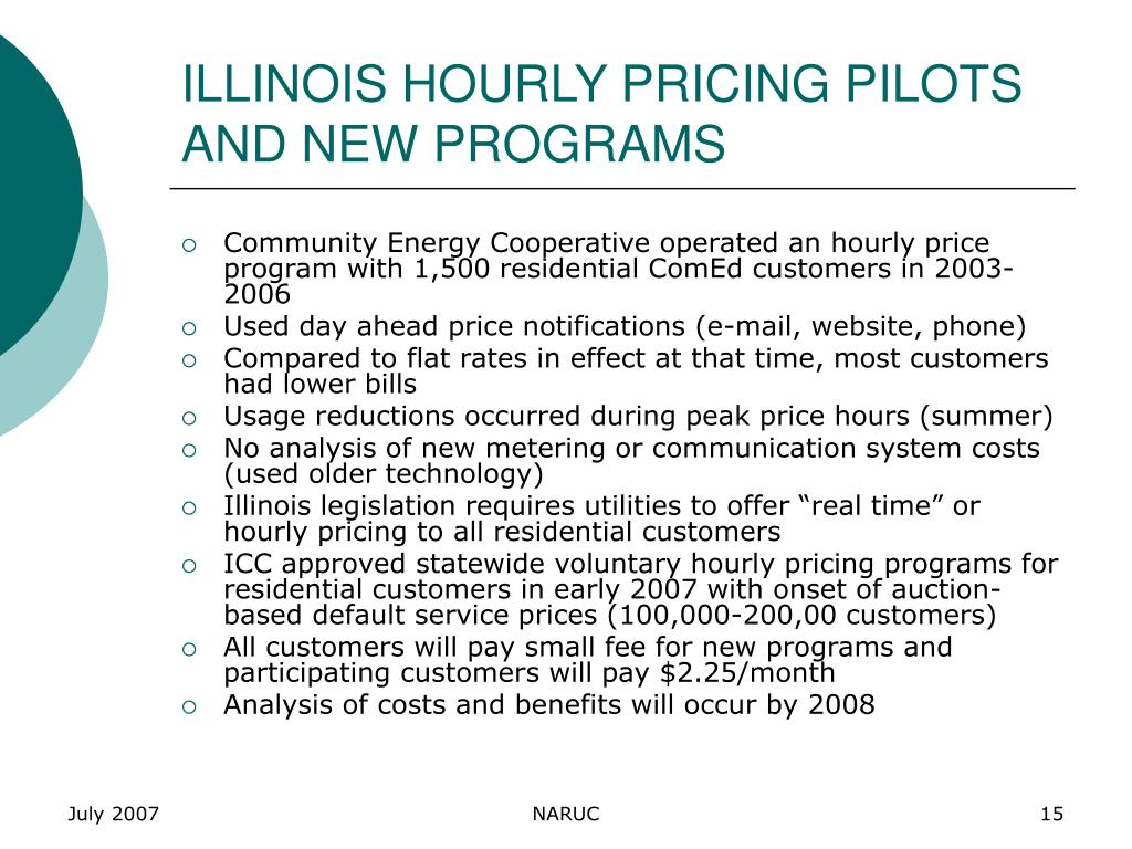 ILLINOIS HOURLY PRICING PILOTS AND NEW PROGRAMS
