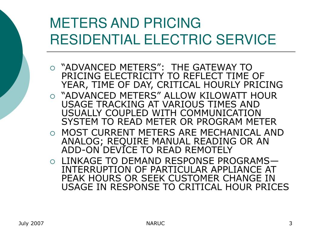 METERS AND PRICING RESIDENTIAL ELECTRIC SERVICE