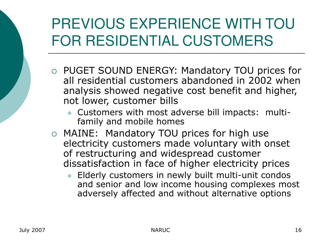 PREVIOUS EXPERIENCE WITH TOU FOR RESIDENTIAL CUSTOMERS