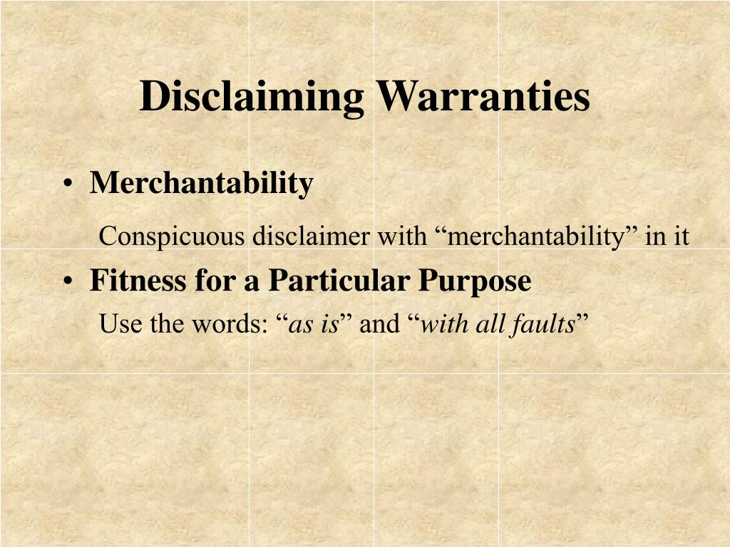 Disclaiming Warranties