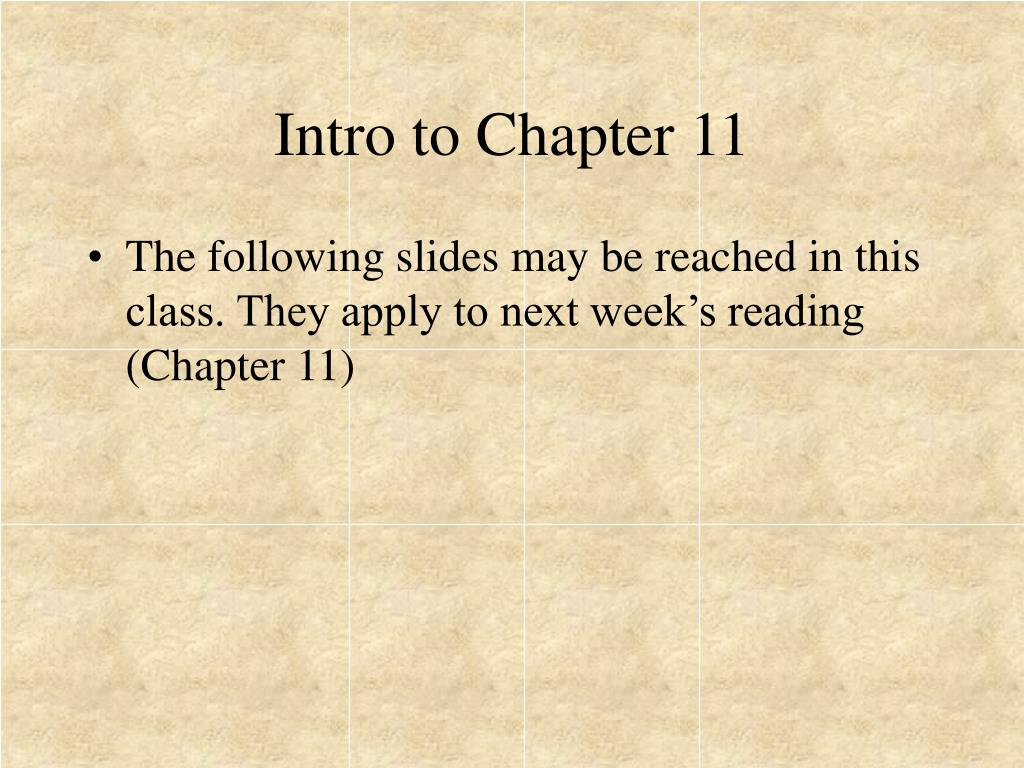 Intro to Chapter 11