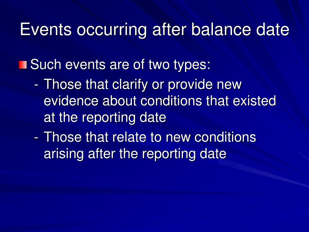 Events occurring after balance date