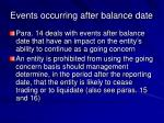 events occurring after balance date22